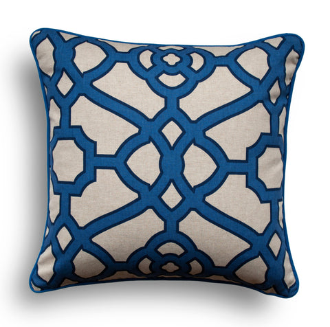 MODERN DECORATIVE PILLOW - Blue Pillow Cover - Modern Throw Pillow - Trellis Pillow Cover - P Kaufmann - Blue Throw Pillow - Designer Pillow
