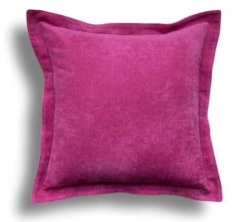 Pink Velvet Throw Pillow Cover - Solid Throw Pillow Cover - Pink Throw Pillows - Velvet Pillow Cover - Fuchsia - Flange Pillow with Zipper