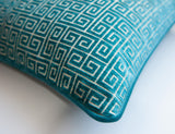 Velvet Throw Pillow Covers -Greek Key Pillow Covers- Teal Pillow Covers -Robert Allen Fabric -Greek Keys Pattern -Turquoise Pillows - Soft Keys