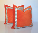 Orange Throw Pillows - Orange Pillow Cover- Pillows with Trim - Velvet Pillow - Geometric Trim- Greek Key Pillows- Velvet Throw Pillow Cover