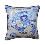 Imperial Dragon - Thibaut- Chinoiserie Motif - Blue Pillows