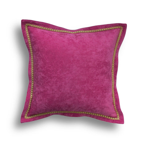 Pink Velvet Throw Pillow Cover - Solid Throw Pillow Cover - Pink Throw Pillows - Velvet Pillow Cover -Fuchsia -Trim Pillow -Pillow with Trim