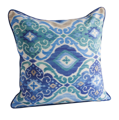 One Happy Pillow - Indoor/Outdoor Blue Teal Pillow w/Zipper and Trim