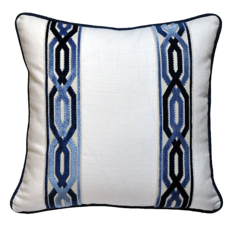 Bed pillows, bed decorative pillows, pillows with tape trim, pillows with trim, white linen pillow covers, white linen shams, euro pillow cover, euro pillow shams, white and navy pillows, white pillows, navy pillows