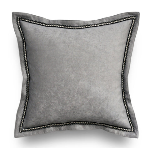 Gray Velvet Throw Pillow Cover - Solid Throw Pillow -Gray Throw Pillows - Velvet Pillow Cover - Flange Pillow -Silver Pillows -Trim Pillow