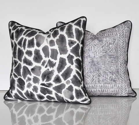 Gray Linen Pillow Covers - Thibaut Pillow Covers - Giraffe Print Covers - Linen Pillow Covers - Animal Print Pillow Covers
