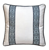Bed pillows, bed decorative pillows, pillows with tape trim, pillows with trim, white linen pillow covers, white linen shams, euro pillow cover, euro pillow shams, white and navy pillows, white pillows, navy pillows, greek keys