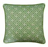 Sunbrella Pillow Cover -Green Pillow Cover - Greek Key Pillow - Green and White Pillow - Palm Pillow -Pillow With Piping -Indoor and Outdoor
