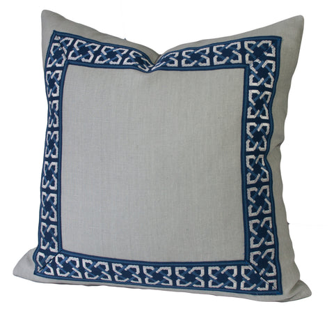 Grey Linen Pillow Cover with Geometric Trim in Navy