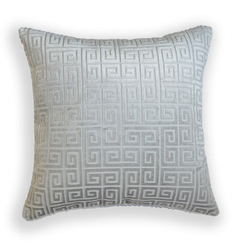 Silver Pillow Cover - Grey Velvet Throw Pillow Cover - Greek Keys Pillow Covers- Gray Throw Pillow Cover- Greek Keys - Silver Pillow Cover - Silver Grey Throw pillow - Greek Key Velvet Pillow - Greek Key Pattern