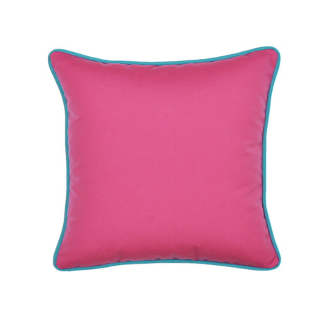 Hot Pink Pillow Cover With Aqua Piping - Sunbrella® Fabric