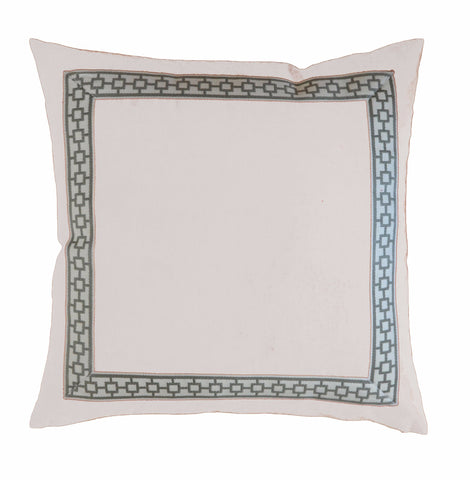 Ivory Velvet Pillow Cover with Gray Greek Key Trim