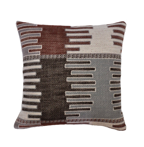 Kilim Pillow Cover -Robert Allen Fabric -Tribal Pillow -Brown Pillow Cover-Beige Pillow Cover -Geometric Pattern -Kilim Panel In Carob