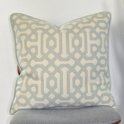 Sunbrella Pillow Cover -Fretwork Design - Sea Mist Pillow - Light Green and White Pillow - Contemporary Pillow -Pillow With Piping