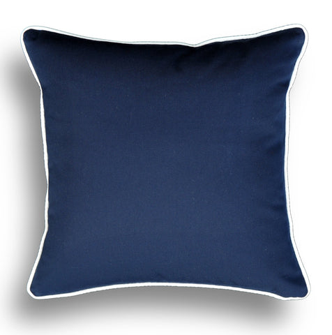 Navy Pillow Cover -Sunbrella® Fabric -Blue Pillow Cover - White Piping- Pillow Cover -Beach Themed Pillow Cover- Blue and White
