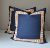 Navy and Orange Pillows - Linen Navy Pillow Cover - Navy Blue Linen Pillow Cover -Navy and Orange -Pillows with Trim -Greek Key Trim -Navy and Orange Throw Pillows