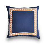 Linen Navy Pillow Cover - Navy Blue Linen Pillow Cover -Navy and Orange -Pillows with Trim -Greek Key Trim -Navy and Orange Throw Pillows