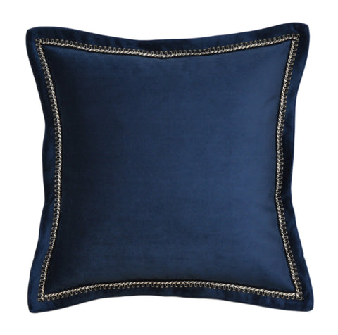 Navy Velvet Throw Pillow Cover -Navy Pillow Cover- Navy Throw Pillow Cover -Flange Pillow Cover -Velvet Pillow Cover -Trimmed Pillow Cover