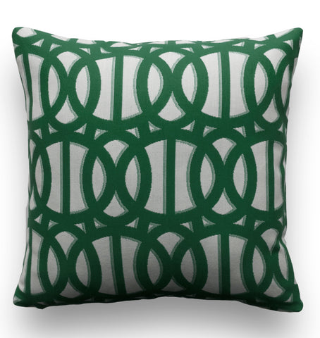 Outdoor Pillow Cover - Green and White Pillow Cover - Sunbrella Pillow Cover - Reflex Emerald - Patio Pillow - Outdoor Throw Pillow Cover