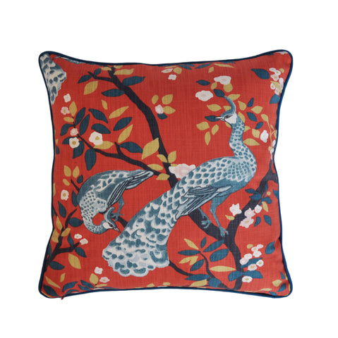 Persimmon Pillow Cover -Robert Allen Pillow Cover -Designer Pillow Cover -Peacock Print Pillow Cover -Orange and Teal - Burnt Orange