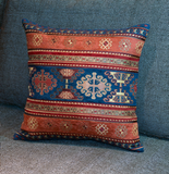 Ethnic Pillow Cover in Orange and Navy - Turkish Pillow Cover