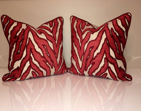 Robert Allen Pillow Covers -Smooth Move Pillow Cover - Luxury Pillow -Designer Pillow Cover -Zebra Pillow Cover -Red Throw Pillow
