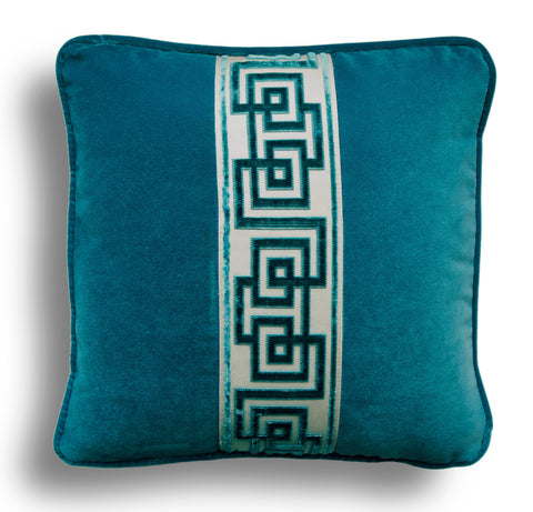 Teal Velvet Pillow Cover Embellished With Greek Key Samuel and Sons Ribbon