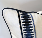 Raised Velvet Trim, White pillows, Bed pillows, bed decorative pillows, pillows with tape trim, pillows with trim, white linen pillow covers, white linen shams, euro pillow cover, euro pillow shams, white and navy pillows, white pillows, navy pillows