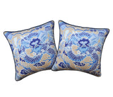 SET of TWO Thibait Imperial Dragon Pillow Covers - Thibaut Fabric - Linen Throw Pillow Covers- Chinoiserie Motif - Blue Pillows
