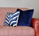 Set of Two Etosha Velvet Zebra Pillow Covers in Blue