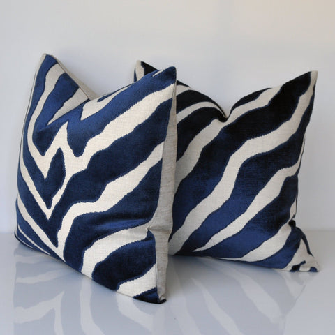SET OF TWO - Thibaut Pillow Covers - Zebra Print Covers - Raised Velvet Pillow Covers - Blue Throw Pillow - Animal Print Pillow Covers