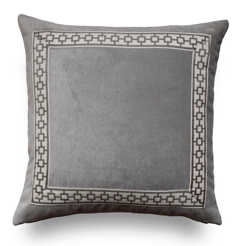 Grey Throw Pillows - Gray Pillow Cover- Pillows with Trim -Silver Pillow -Geometric Trim- Greek Key Pillows- Grey Pillow Cover