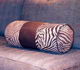 Bolster Pillow Cover - Neck Roll Pillow Cover - Animal Print - Brown Pillow Cover - Zebra Pillows -Leather Pillow Cover -Zebra Print Pillows