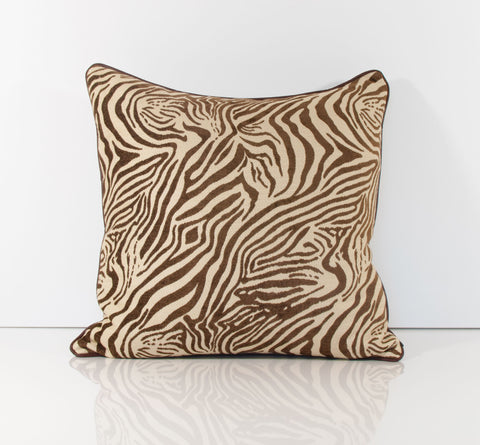 Brown Zebra Print Throw Pillow with Leather Piping - Marvelous Zebra
