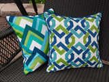 OUTDOOR PILLOW COVER - Teal Pillow Cover - Outdoor Throw Pillow Cover - Blue Pillow Cover - Multi Color Throw Pillow - Green Pillow Cover