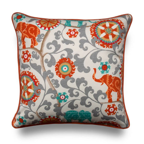 OUTDOOR PILLOW COVERS - Modern Throw Pillow Cover - Outdoor Pillows - Orange Pillow Cover with Piping - Elephant Pillow - Patio Pillow