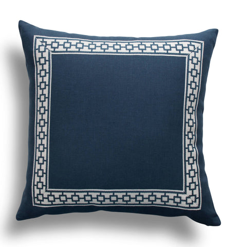 Navy Linen Pillow Cover with Navy Geometric Trim