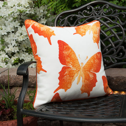 Indoor/Outdoor Orange Butterfly Throw Pillow - front