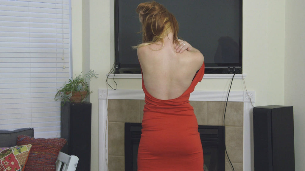 JENA RED DRESS SHOULDER TEASE