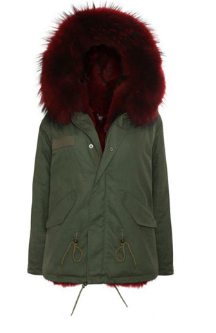 Khaki Parka with Pink Fur (Long)