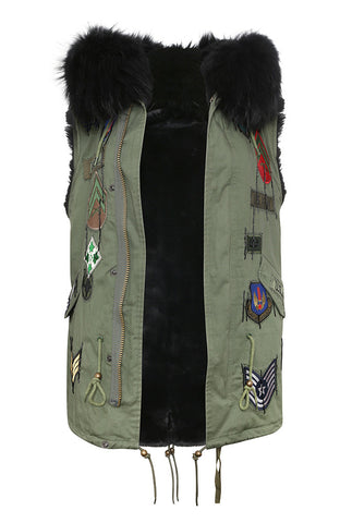 Mens Khaki Gilet with Black Fur Hood