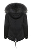 Mens Grey Fox Fur Black Parka