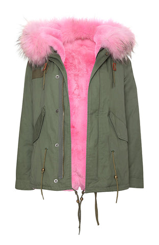 Khaki Parka with Pink Fur (Short)
