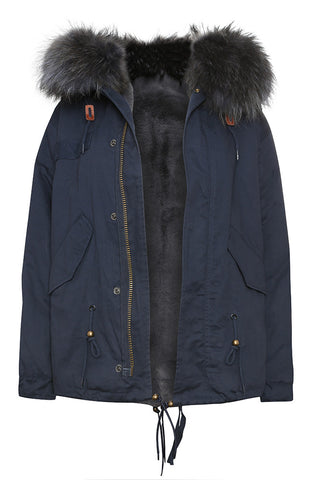 Mens Grey Fox Fur Navy Parka
