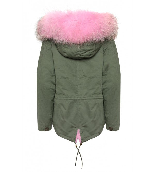 Khaki faux fur lined parka with pale pink faux fur hood (Short)