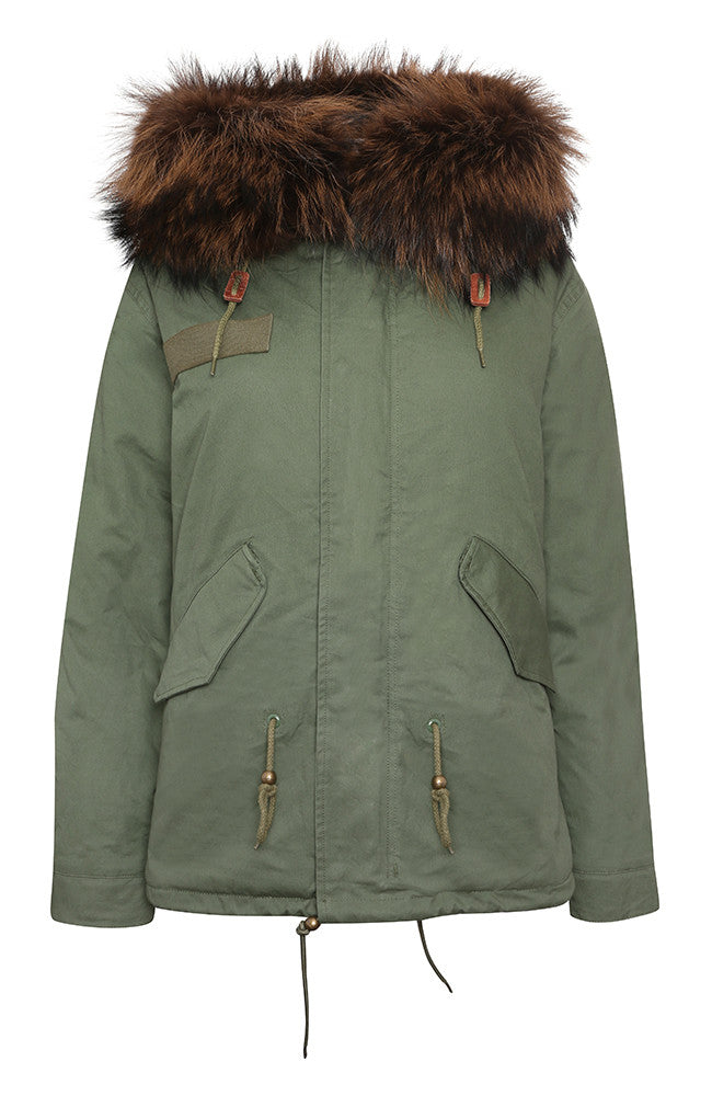 Khaki Parka with Chocolate Fur (Short)
