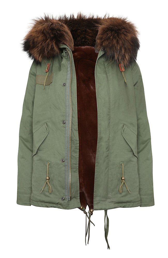 Mens Chocolate Short Fox Fur Parka