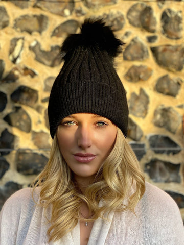 Navy Bobble Hat with Navy Fur  Bobble