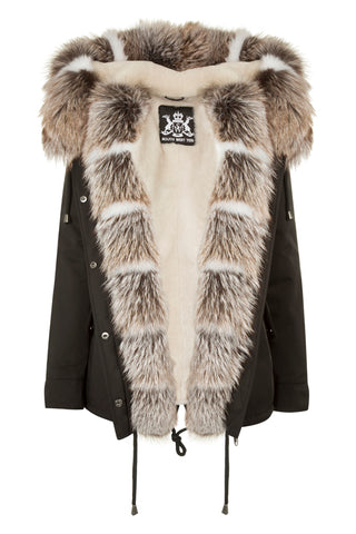 Black Parka with Silver and Blue Fox Fur