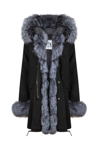 Black Parka with Silver Fox Fur (Long)